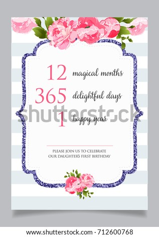 First birthday invitation girl one year stock vector royalty free first birthday invitation for girl one year old party printable vector template with golden stopboris Gallery