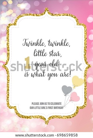 First birthday invitation girl one year stock vector hd royalty first birthday invitation for girl one year old party printable vector template with pink stopboris Choice Image