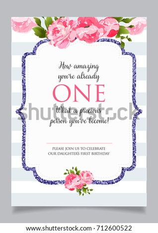 First birthday invitation girl one year stock vector 712600522 first birthday invitation for girl one year old party printable vector template with pink stopboris