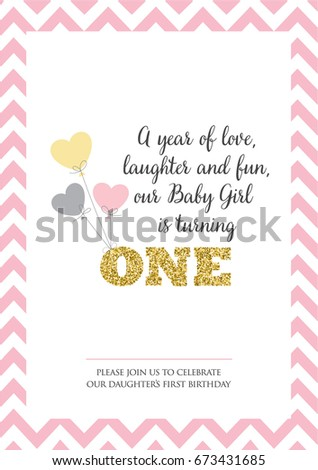 First birthday invitation girl one year stock vector royalty free first birthday invitation for girl one year old party printable vector template with stripes filmwisefo