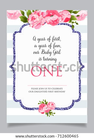 First birthday invitation girl one year stock vector 712600465 first birthday invitation for girl one year old party printable vector template with stripes stopboris Gallery
