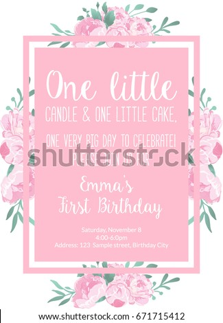 First birthday invitation light pink girl stock vector hd royalty first birthday invitation light pink for girl party invitation with text one little candle and filmwisefo