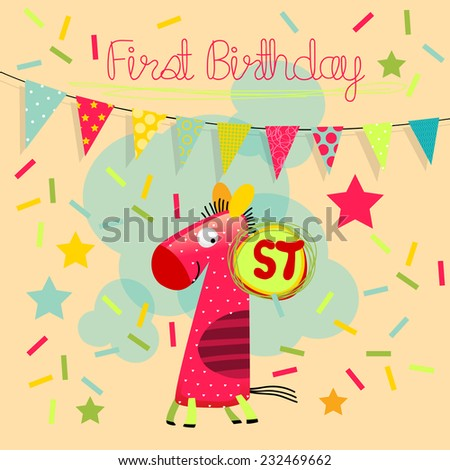 First birthday. Vector happy birthday greeting card, birthday invitation. Anniversary celebration greeting card.  - stock vector
