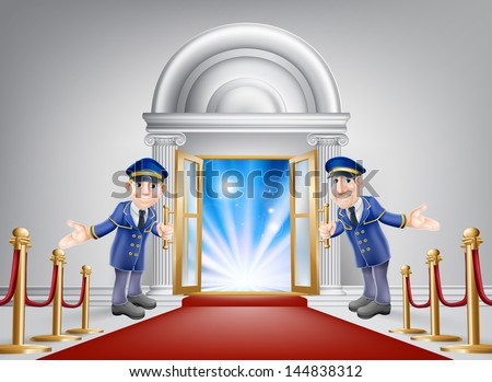 First class treatment conceptual illustration. A venue entrance with a red carpet and red velvet rope and two friendly doormen in uniform welcoming in a VIP guest. - stock vector