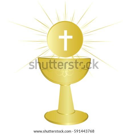 First Communion Chalice Symbol Nice Invitation Stock Vector 2018