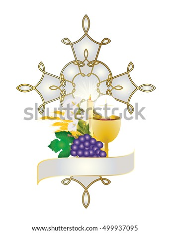 First Communion Illustration Eucharist Symbol Bread Stock Vector