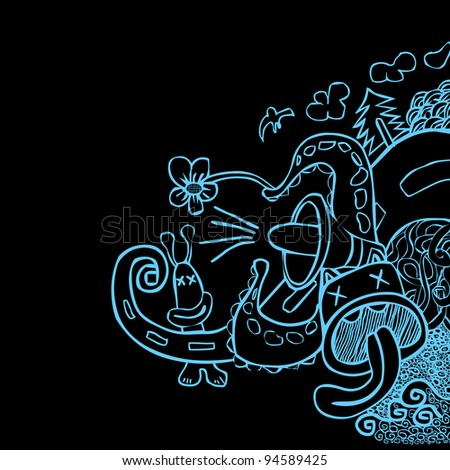 First Doodle - stock vector
