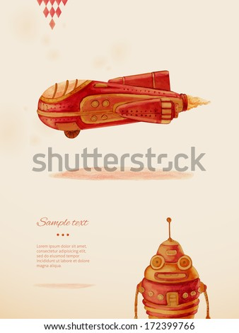 First flight. Toys. Eps 10 - stock vector