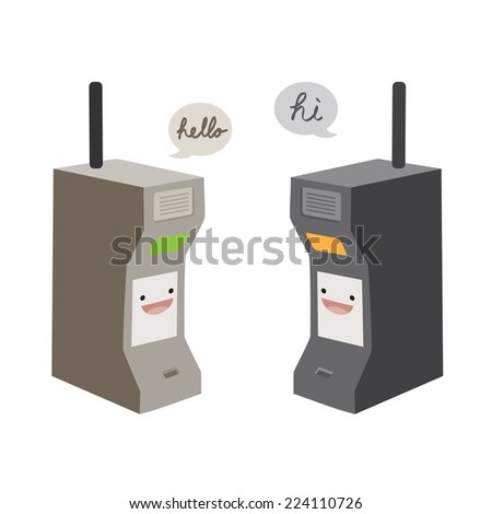first generation mobile phone vector - stock vector