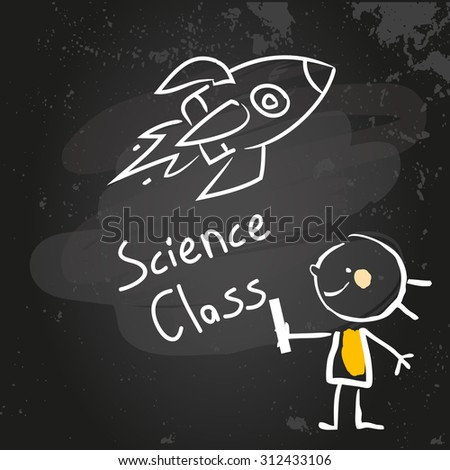 First grade science class education, hand drawn on blackboard with chalk. Hand drawing and writing doodle style, sketchy illustration.  - stock vector