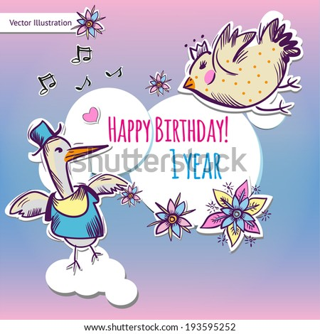 First Happy Birthday pink card with birds and flowers. Vector illustration