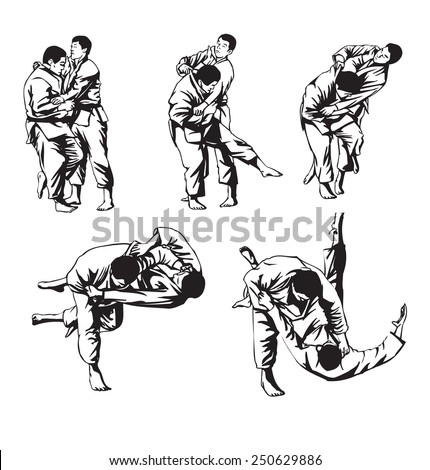 First judo fight stage five - stock vector