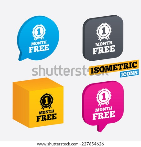 First month free medal with ribbon sign icon. Special offer symbol. Isometric speech bubbles and cube. Rotated icons with edges. Vector - stock vector