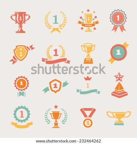 First Place Badges and Winner Ribbons vector colored illustration - stock vector