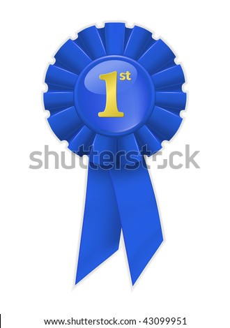First place blue ribbon, vector - stock vector