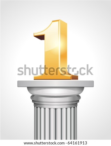 First place gold on white column - stock vector