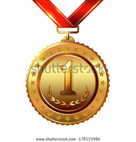First place. Golden Award Medal isolated on white with red ribbon and stars.  Vector illustration. - stock vector