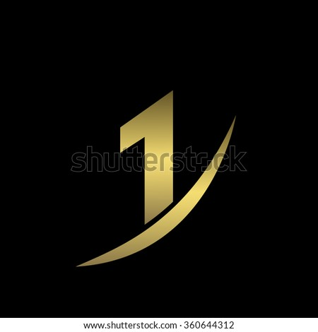 First place icon, golden number one symbol. Vector illustration - stock vector