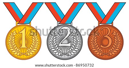 first place, second place and third place (set of gold, silver and bronze medal) - stock vector