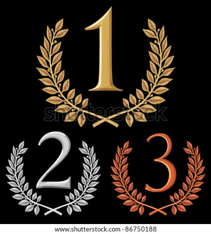 first place, second place and third place (set of gold, silver and bronze symbols) - stock vector