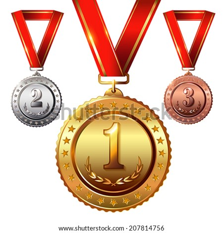 First place. Second place.Third place. Award Medals Set isolated on white with red ribbons and stars.  Vector illustration. - stock vector