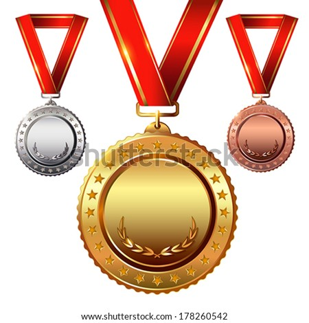 First place. Second place.Third place. Empty Award Medals Set isolated on  white with red ribbons and stars.  Vector illustration. - stock vector