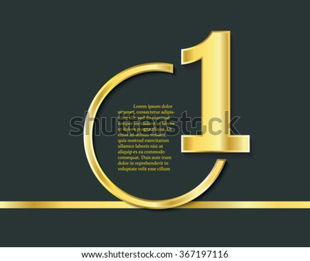 First place symbol. Number one, golden logo, award symbol. Champion, winner and leadership sign. - stock vector