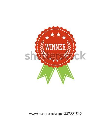First place winner award badge, award ribbon - vector illustration - stock vector