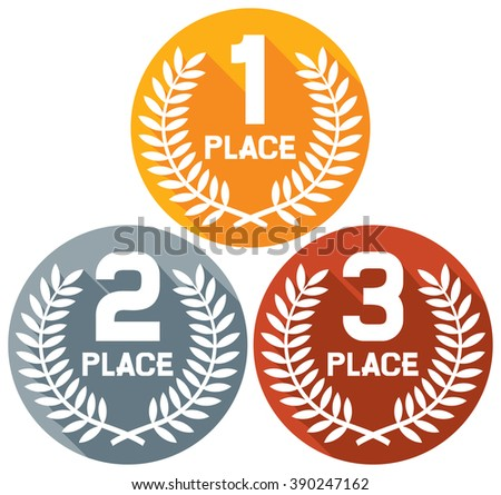 Vector Ilration Of Award Trophies For First Second And Third Place Ranks 1st