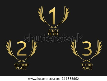 First, second and third place icons. Golden award symbol set - stock vector