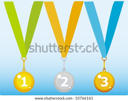 First, Second and Third places medals for competitions - stock vector