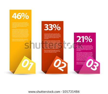 First second third - vector paper infographic elements with description - stock vector