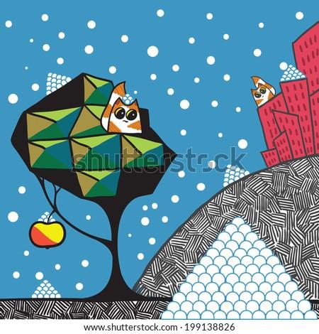 First snow. Cartoon vector illustration. - stock vector