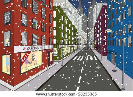 First snow on some of the streets of New York - stock vector