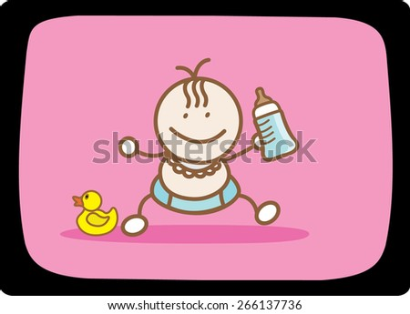 First step baby with baby milk - stock vector