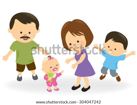 First steps baby girl and family cheering - stock vector