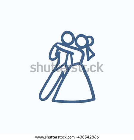 First wedding dance vector sketch icon isolated on background. Hand drawn First wedding dance icon. First wedding dance sketch icon for infographic, website or app. - stock vector