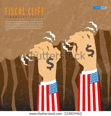 Fiscal cliff financial crisis - stock vector