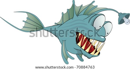 Fish a fishing tackle - stock vector
