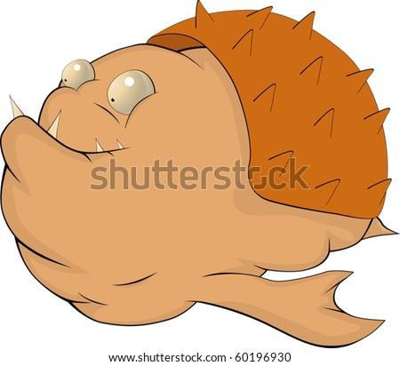 Fish a hedgehog - stock vector