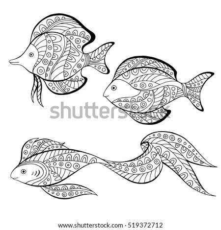 Fish abstract doodle pattern graphic art black white illustration vector