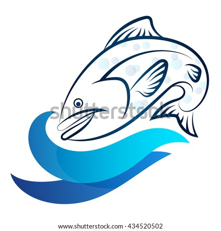 Fish and blue wave vector silhouette