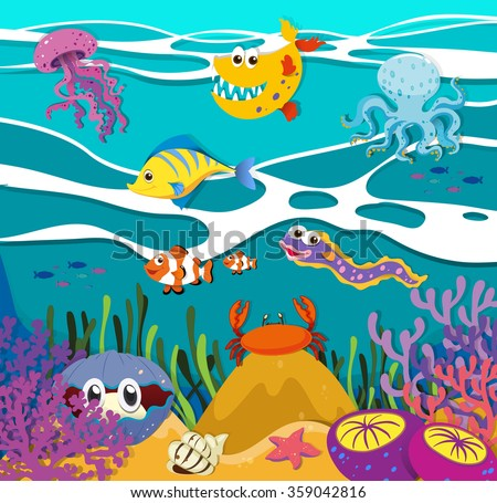 Fish and sea animals under the ocean illustration - stock vector