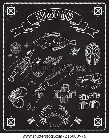 Fish and seafood blackboard vector elements with white line drawings of fish  ships wheels  calamari  lobster  crab  sushi  shrimp  prawn  mussel  salmon steak in a frame with a ribbon banner - stock vector