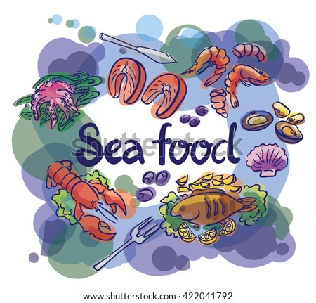 Fish and seafood set illustration and lettering
