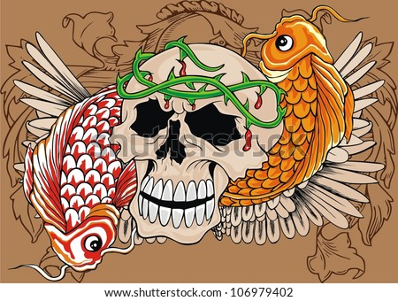 fish and vintage skull - stock vector