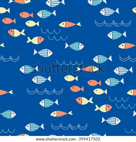 Fish and waves seamless pattern - stock vector