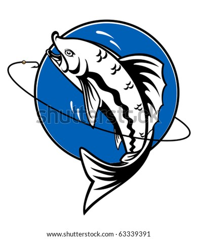 Fish as a fishing symbol for design - also as emblem. Jpeg version also available in gallery - stock vector