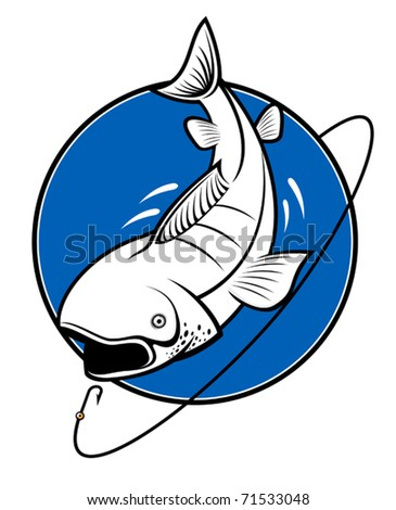 Fish as a fishing symbol isolated on white. Jpeg version also available in gallery - stock vector