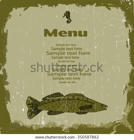 Fish Asian style reastaurant menu. Vector illustration.eps10.